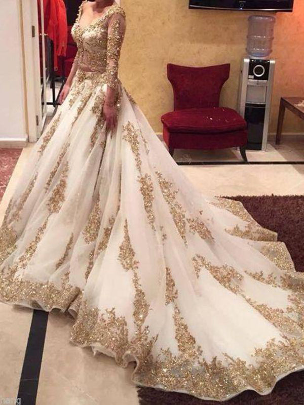 Two Piece Gold Prom Dress Lace V Neck Indian Plus Size Prom Dress # VB3568