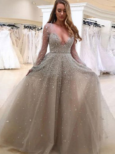 Chic Plus Size Prom Dress Tulle African V Neck Long Sleeve ...