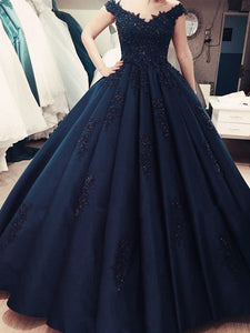 Ball Gown Dark Navy Prom Dress Lace Plus Size V Neck Prom Dress # VB3590