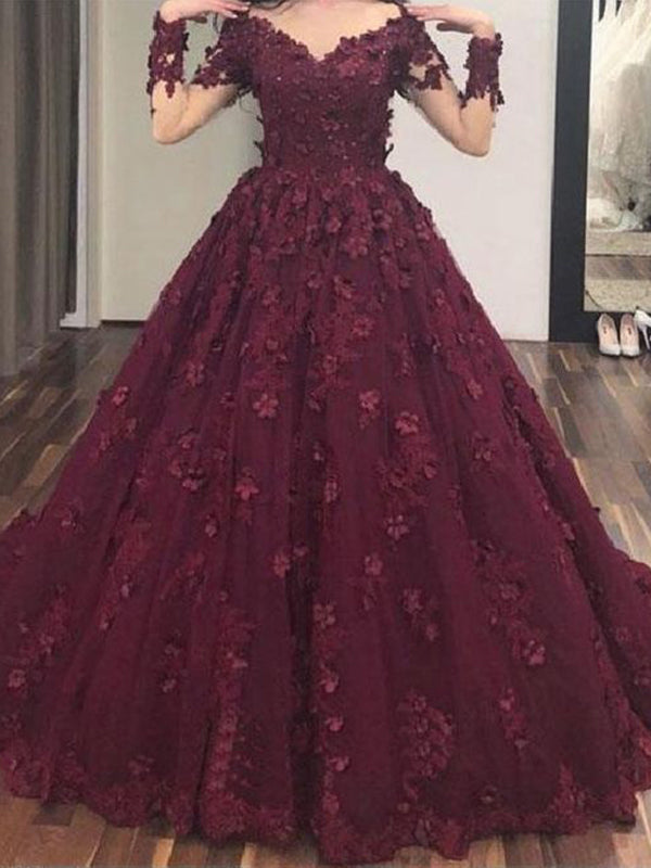 Ball Gown Burgundy Prom Dress Lace Plus Size Long Sleeve Prom Dress ...