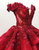Vintage Burgundy Wedding Dress Lace Ball Gown Off The Shoulder Wedding Dress # VB3593