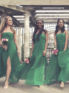 A-line Strapless Floor-length Sleeveless Chiffon Bridesmaid Dresses # VB394