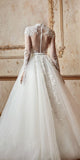 A-line High Neck Floor-length Long Sleeve Tulle Wedding Dress # VB403