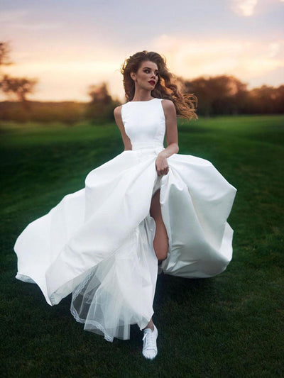 Chic A-line Wedding Dress Ivory Long Cheap Wedding Dress # VB410