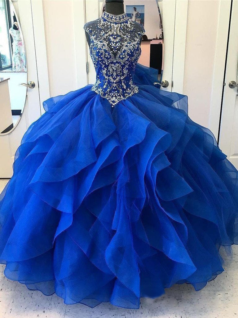Ball Gown Royal Blue Prom Dress African Plus Size Prom Dress # VB4111