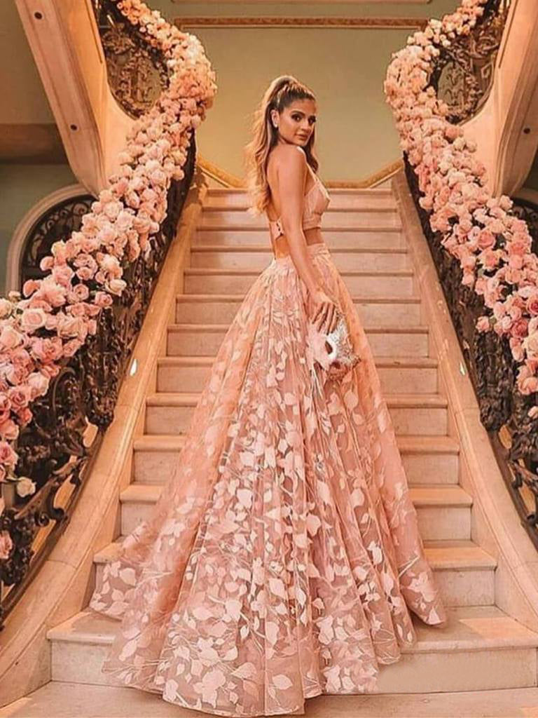 Two Piece Lace Prom Dress Pink African Plus Size Prom Dress # VB4114