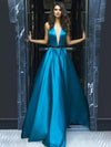 A-line Halter Sweep/Brush Train Sleeveless Elastic Woven Satin Prom Dress/Evening Dress # VB411