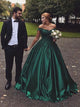 Ball Gown Green Prom Dress Plus Size Off The Shoulder Prom Dress # VB4153