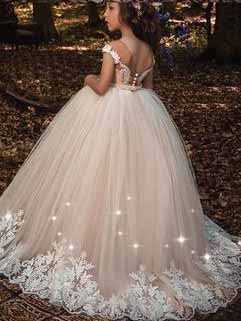 Ball Gown Lace Flower Girl Dresses Cheap Cute Flower Girl Dresses #VB4155