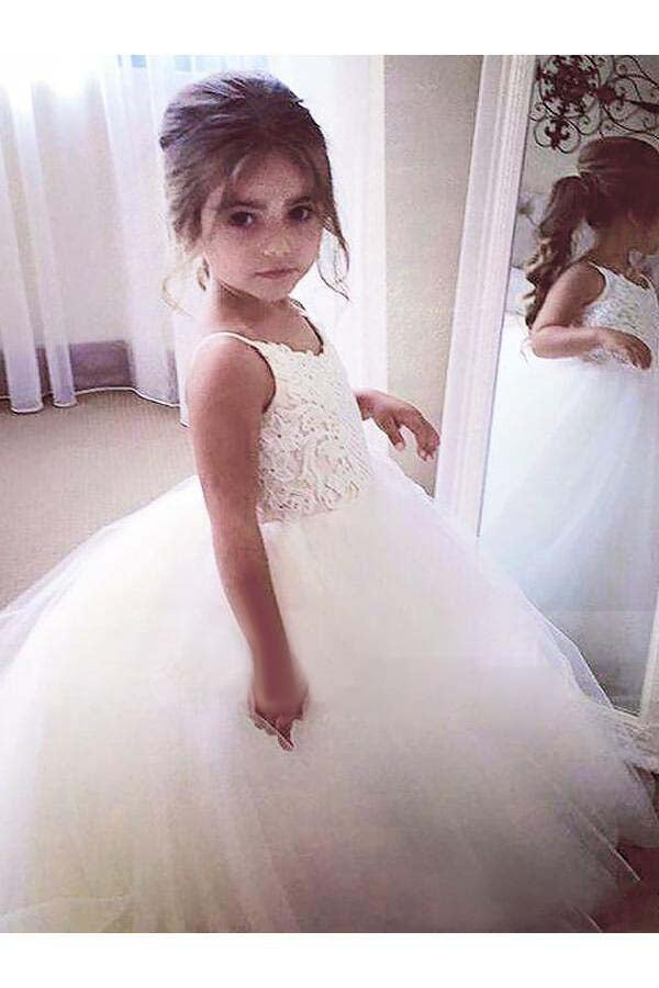 97fb58ed32a Ball Gown Lace Flower Girl Dresses Cheap Cute Ivory Flower Girl Dresses   VB4156
