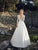 A-line V-neck Sweep/Brush Train Long Sleeve Chiffon Wedding Dress # VB415