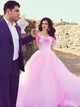 Vintage Pink Wedding Dress Off The Shoulder Floral Plus Size Wedding Dress # VB4162