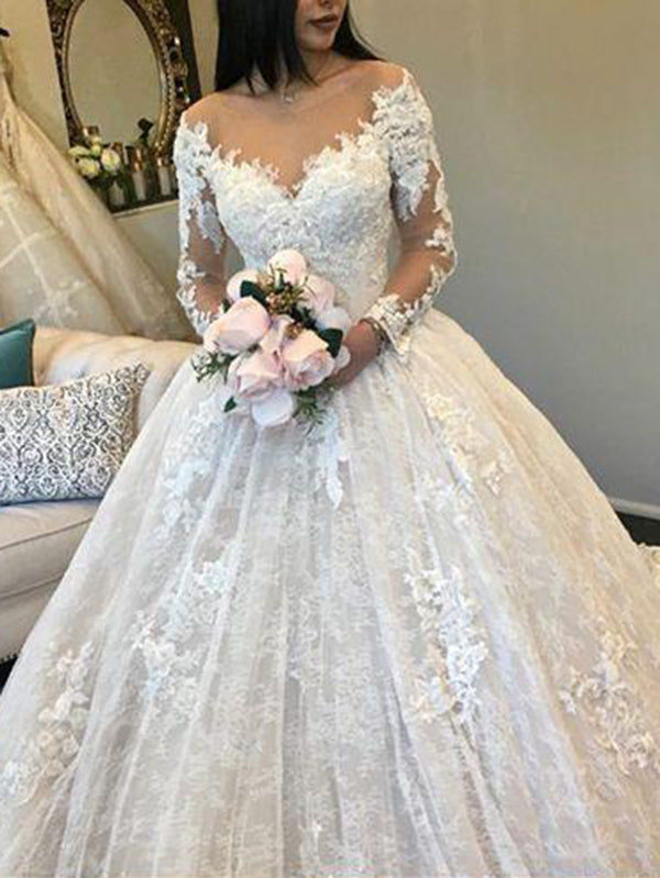 Ball Gown Ivory Wedding Dress Long Sleeve Vintage Plus Size Wedding ...