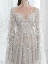 Ivory Lace Wedding Dress Vintage Tulle A Line Wedding Dress # VB4166