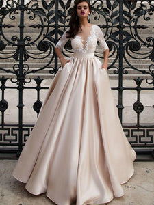 A-line Bateau Floor-length 3/4-Length Satin Wedding Dress # VB416