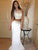Mermaid White Prom Dress Two Piece Beading Sheath Prom Dress # VB4171