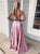 Two Piece Pink Prom Dress Plus Size  A Line Lace Prom Dress # VB4172