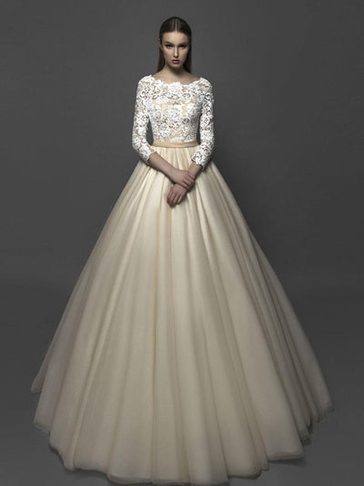 A-line Bateau Floor-length 3/4-Length Tulle Wedding Dress # VB417