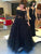 Off The Shoulder Black Prom Dress Plus Size Long Sleeve Prom Dress # VB4183