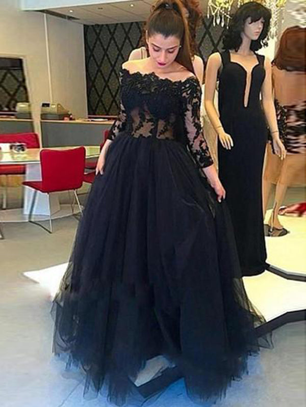 cea18931137 Off The Shoulder Black Prom Dress Plus Size Long Sleeve Prom Dress   VB4183