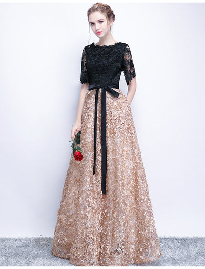 A-line Bateau Floor-length Half sleeve Tulle Prom Dress/Evening Dress # VB420