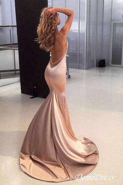 Mermaid Pink Prom Dress Backless Sexy Cheap Prom Dress # VB4203
