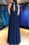 Chic A Line Prom Dress  Chiffon Dark Navy Cheap Prom Dress # VB4206