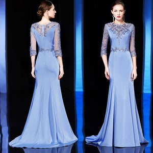 Trumpet/Mermaid Bateau Floor-length 3/4-Length Chiffon Prom Dress/Evening Dress # VB421