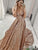 Chic Gold Prom Dress Sequins A Line African Cheap Prom Dress # VB4210