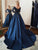 Vintage V Neck Prom Dress Long Sleeve Dark Navy Cheap Prom Dress # VB4213