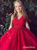 Vintage V Neck Prom Dress Red Lace Tulle Cheap Prom Dress # VB4220