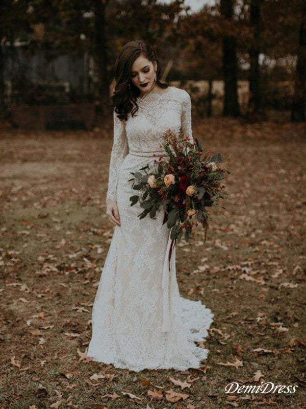 Sheath Lace Wedding Dress Long Sleeve Cheap Ivory Wedding Dress # VB4239