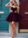 Burgundy A Line Homecoming Dress Tulle Cheap Plus Size Homecoming Dress # VB4260