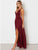 Burgundy Chiffon Prom Dress Cheap Long V Neck Prom Dress # VB4270