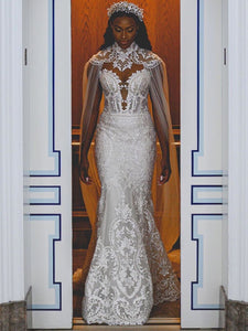 Mermaid Lace Wedding Dress Vintage African Wedding Dress # VB429
