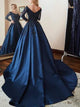Vintage Long Sleeve Prom Dress Off The Shoulder Beading Dark Navy Prom Dress # VB4304