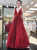 Burgundy Sequins Prom Dress Cheap Long V Neck A Line Prom Dress # VB4306