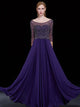 A-line Bateau Floor-length 3/4-Length Chiffon Prom Dress/Evening Dress # VB430