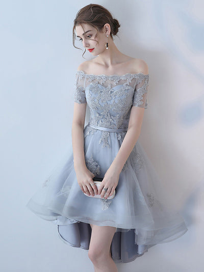 A-line Off-the-shoulder Asymmetrical Short Tulle Homecoming Dress/Short Dress # VB431