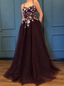 Vintage A Line Prom Dress Tulle Long Cheap African Prom Dress # VB4313