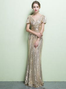 Sheath/Column V-neck Floor-length Short Tulle Prom Dress/Evening Dress # VB432