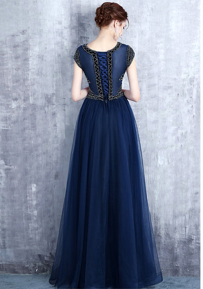 A-line Bateau Floor-length Short Tulle Prom Dress/Evening Dress # VB434