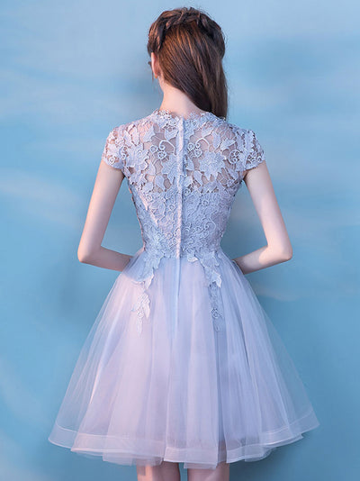 A-line High Neck Short/Mini Short Tulle Homecoming Dress/Short Dress # VB437