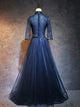 A-line High Neck Floor-length 3/4-Length Tulle Prom Dress/Evening Dress # VB438