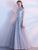 A-line High Neck Floor-length Half sleeve Tulle Prom Dress/Evening Dress # VB439