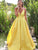 Yellow V Neck Prom Dress Long Cheap Satin Plus Size Prom Dress # VB4504