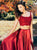 Two Piece Burgundy Prom Dress Long Cheap Straps Prom Dress # VB4506