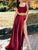 67 Heather Ave.Two Piece Burgundy Prom Dress Long Cheap Straps Prom Dress # VB4506