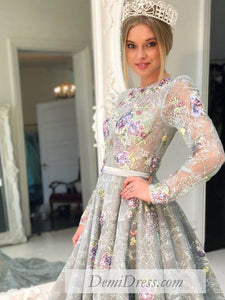 Lace Vintage Prom Dress Plus Size Long Sleeve Prom Dress # VB4536