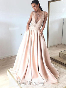 Chic A Line Prom Dress  African Cheap Satin Short Sleeve Prom Dress # VB4546